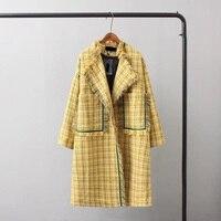 ציצית בציר של נשים נשיות מעיל גשם מעיל רוח צבעי להיט משובץ סתיו אופנה בגדי נשים מעילים בסיסיים