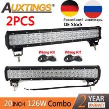 """Auxtings 2 peças pcs 126 w 20 inch conduziu o trabalho barra de luz 20 """"dupla linhas 4×4 truck off road led light bar 12 v 24 v com a fiação kit"""