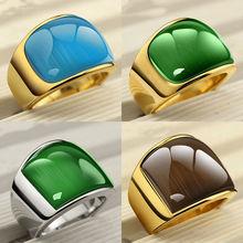 JiangDouDou topkwaliteit merk mode-sieraden luxe punk cat eye goud zilver titanium goud kleur ringen voor vrouwen en mannen