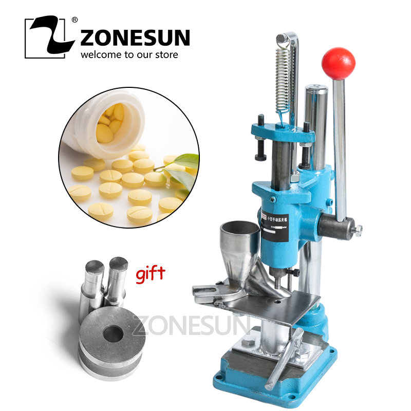 ZONESUN Candy Sugar Mini Press Machine Lab Professional Tablet Manual Punching Machine Medicinal Making Stamping Device manual metal bending machine press brake for making metal model diy s n 20012