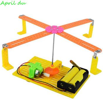 April Du Children Creative Kid Scientific Toys Diy carousel invented small production electric technology,1set pulse production technology