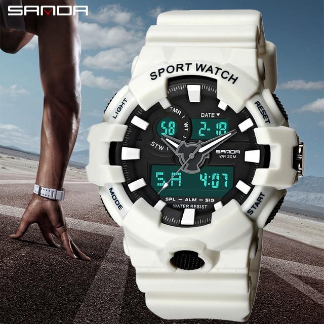 SANDA White Sports Men's Watches 30M Waterproof Military Led Digital Watches Sho