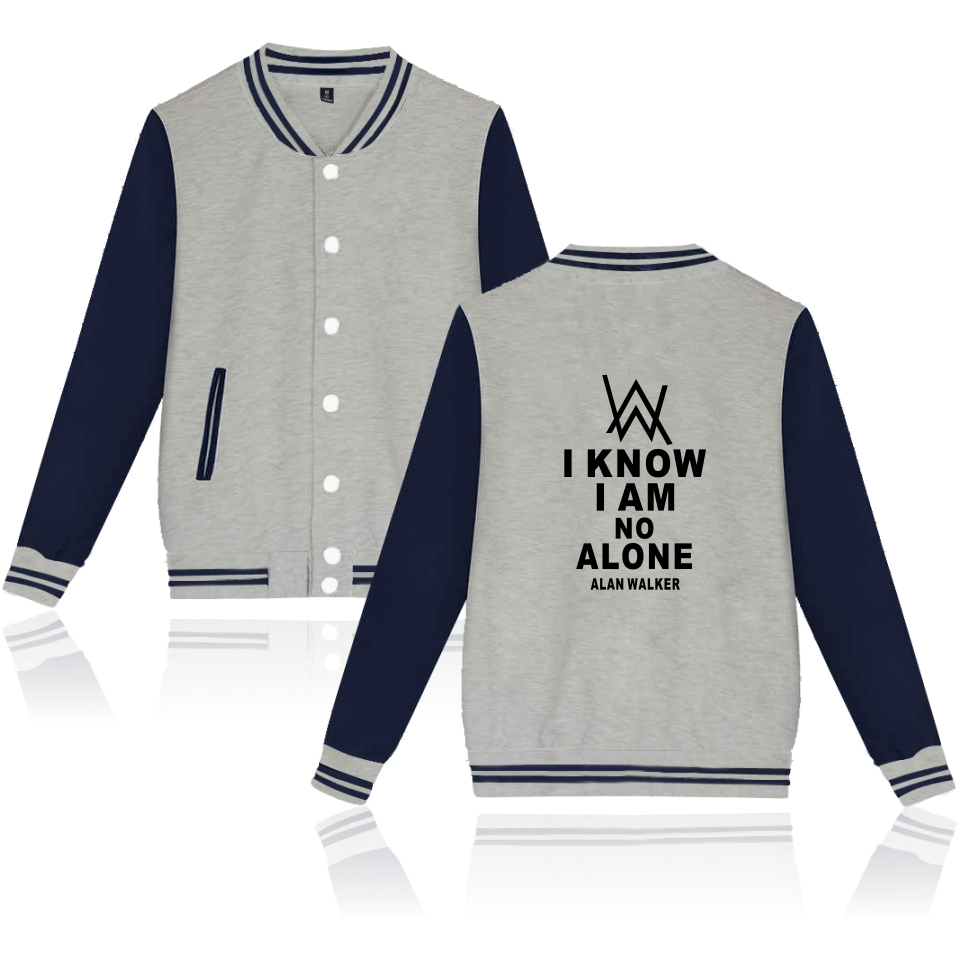 Alan walker jacket Men Music DJ Comedy Alan Walker Men's cardigan hoodies sweatshirt baseball uniform coats