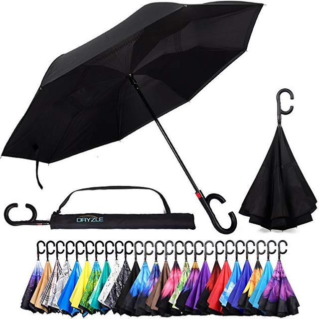 Upside Down UV Protection Unique Windproof Brella That Open Better Than Most Umbrellas, Reversible Folding Double Layer