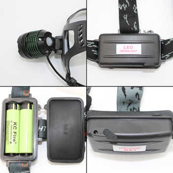 Zoom Headlight Adjust Focus Head Light LED Headlamp Outdoor Flashlight XM-L T6 LED Flashlight + 18650 Battery + AC/Car Charger