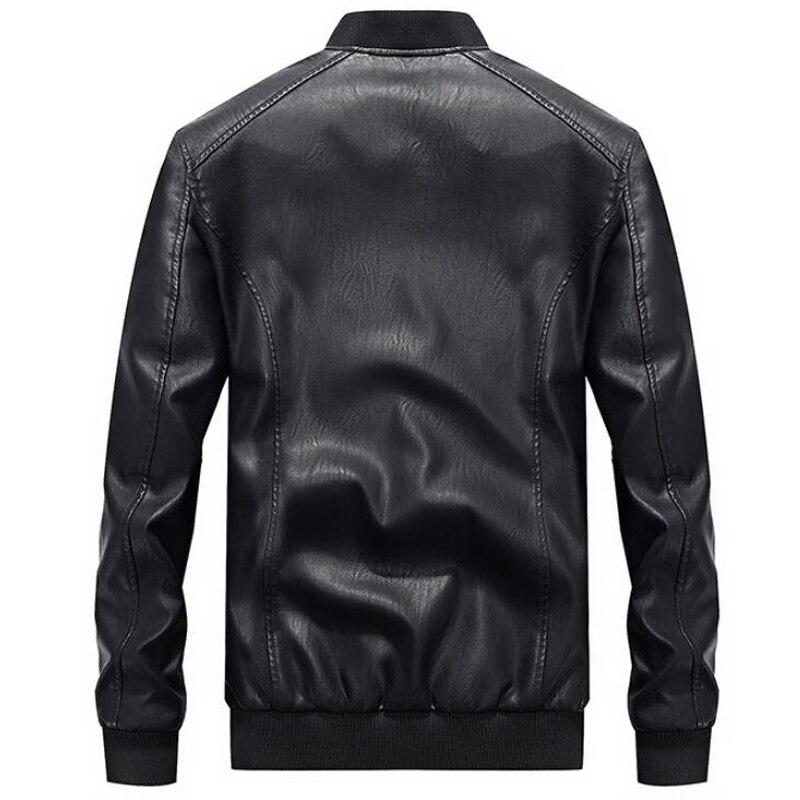 Hommes mode broderie 4XL moto vestes PU cuir veste hommes nouvelle marque printemps automne col montant Baseball en cuir manteau - 5