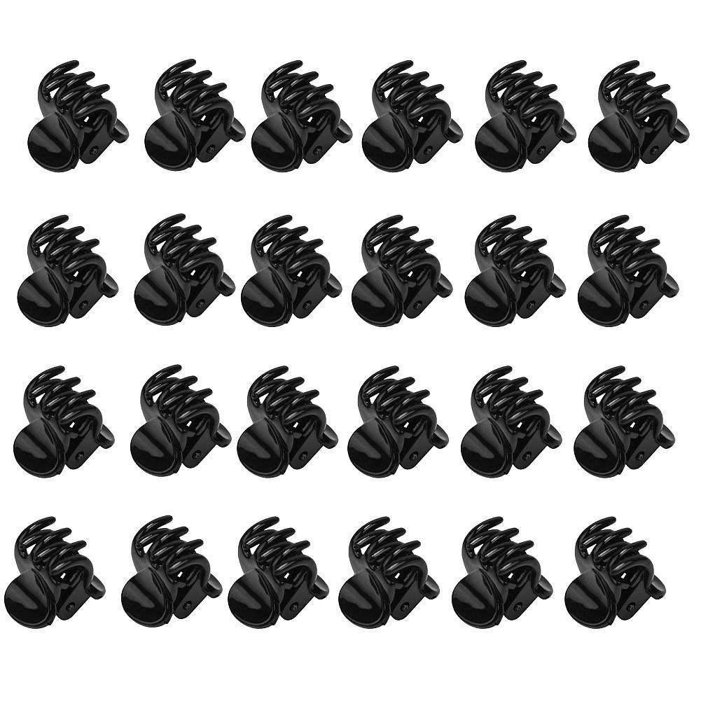 24 Pcs Black Headwear Mini Claw Clamp Clip Styling Hair Accessory Fr Women Girl