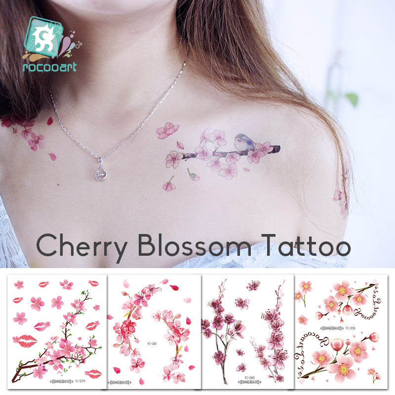 Rocooart Sakura Tattoo Stickers Flowers Fake Tattoos For Women Hand Tattoo Body Art Waterproof Arm Tatoo Cherry Blossom Tatto