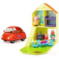 2019 New Genuine Peppa Pig Happy family set ( red family car+play house) Anime Toy George Children's Birthday Christmas Gift