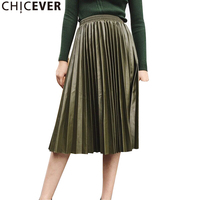 CHICEVER Vintage Hohe Wasit Leder Faltenrock Frauen Elastische Taille Lose Große Größe Schwarz frauen Röcke Mode Lässig 2017