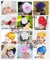 Los niños de la navidad sombreros kintted sombreros sombreros del bebé con hermosas flores de color rosa del diseño del punto de ganchillo tapas