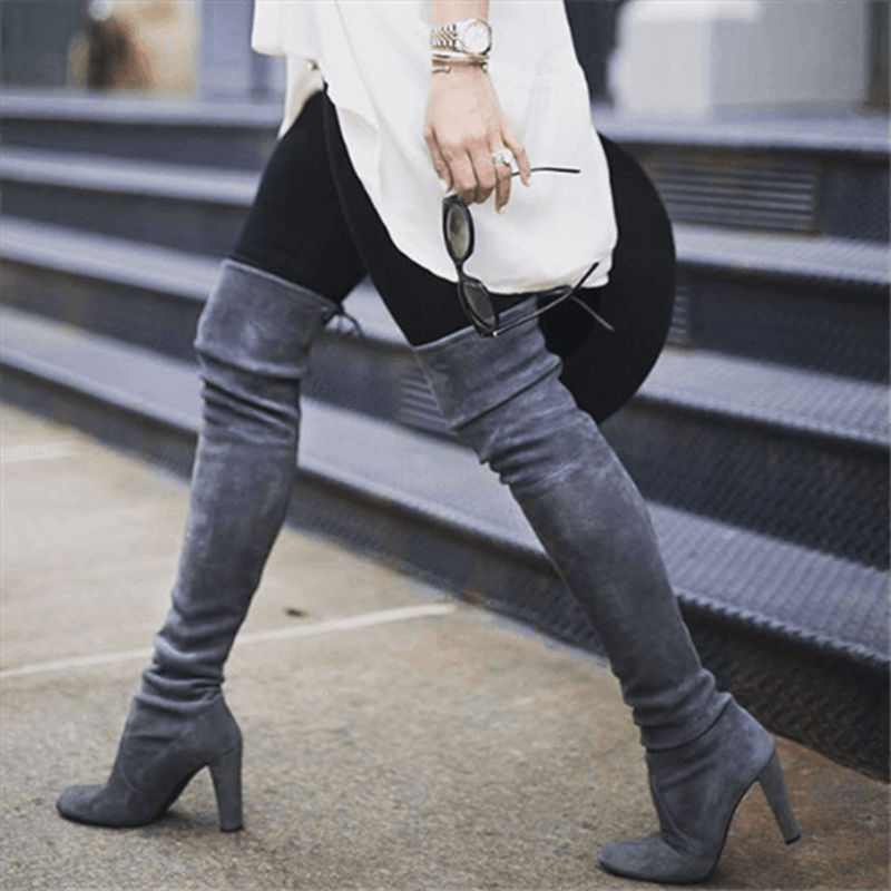MoneRffi בוטה Feminina נשים ירך גבוהה אתחול אופנה זמש עור עקבים גבוהים תחרה עד מעל הברך מגפי נשים בתוספת גודל