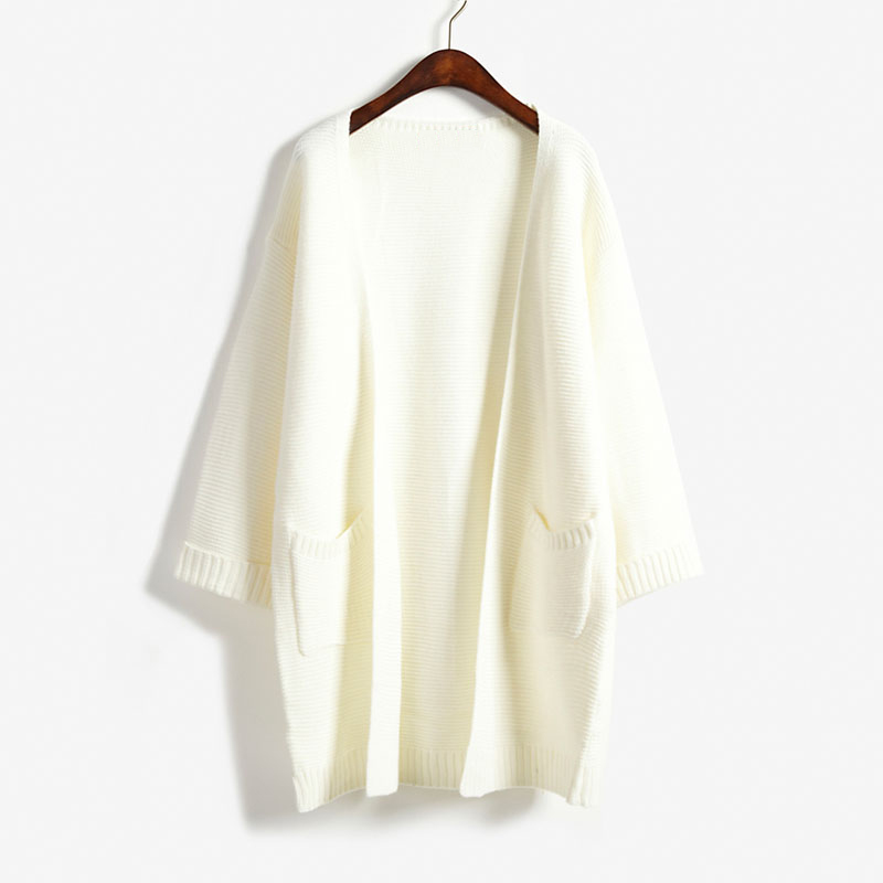 2018 ulzzang Girl Casual Long Knitted Cardigan Autumn Korean Women Loose Solid Color Pocket Design Sweater Jacket Pink Beige 1