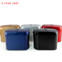E-FOUR Car Hanging Trash Tin ABS Material Mini Size Fashion Design Garbage Rubbish Can Automative Accessories Interior