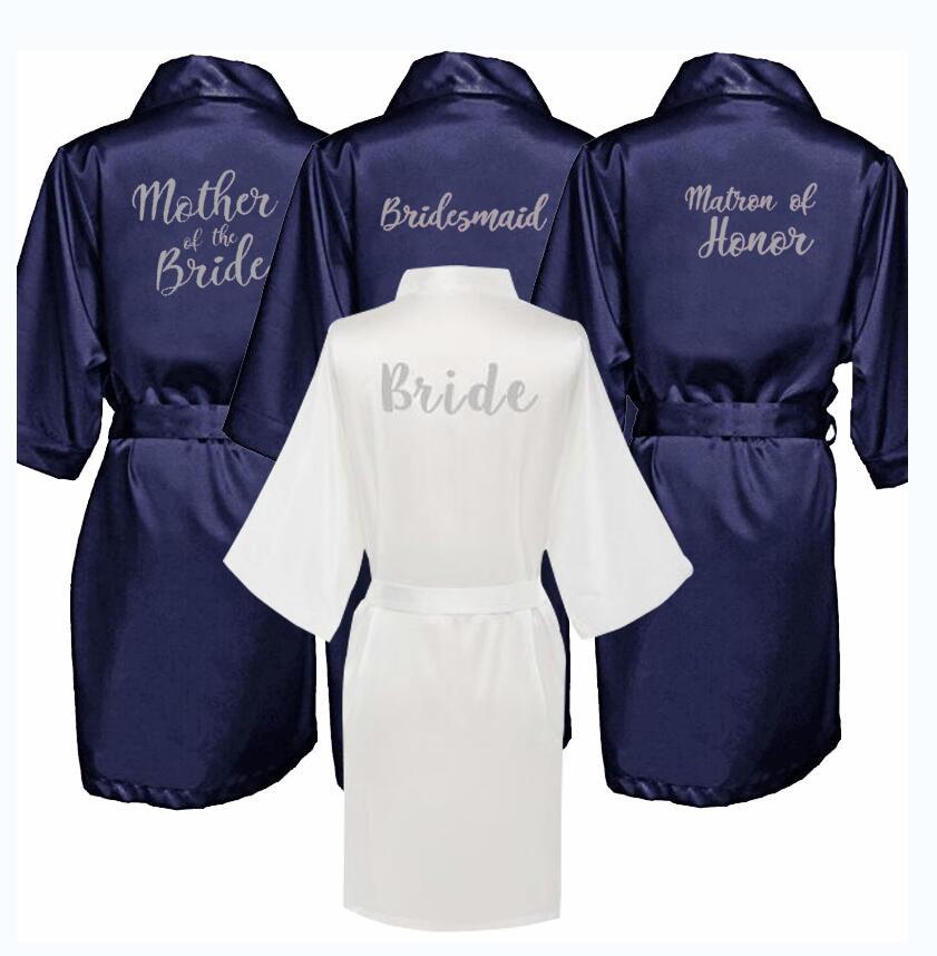 Custom Logo Faux Silk Kimono Robe Women Wedding Bride Bridesmaid Robes Bachelorette Wedding Preparewear