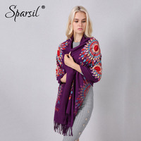 Sparsil Women Thick Cashmere Scarf National Embroidery Elegant Tassel Long Shawl 200x70 Autumn Winter Warm Scarves