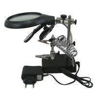2.5x 7.5x 10x lupa com luz led estação de solda reparo europeu plug jacaré clipe reparação lupa