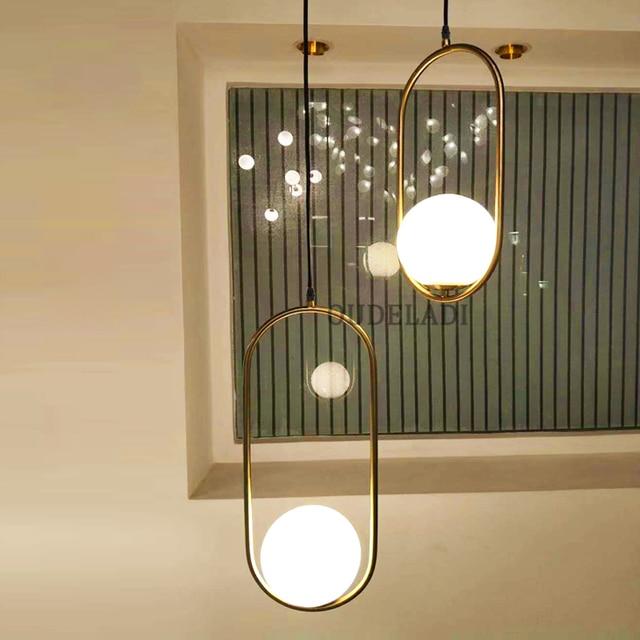 Nordic Glass Ball Pendant Lights Vintage Hoop Gold Modern LED Hanging Lamp for Living Room Home Loft Industrial Decor Luminaire 3