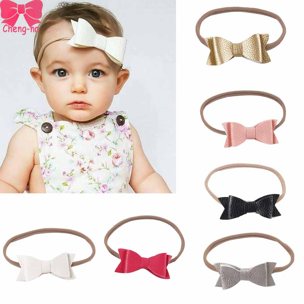 6pcs/Set Cute Leather Hair Bows Headband With Elastic Nylon Hair Band For Newborn Girls Boutique Hair Accessories 3 pieces set princess girls flowers headband with nylon elastic band photography props for newborn hair accessories hair bands