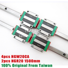 HIWIN 2pcs HGR20 Linear Rail 1500mm + 4pcs HGW20CC CNC Linear Guide Rail Block HGW20