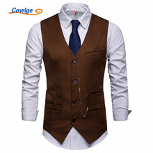 Covrlge New Arrival Dress Vests for Mens Suit Vest Male Waistcoat Gilet Homme Casual Sleeveless Formal Business Jacket MWX038