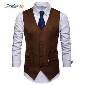 Covrlge New Arrival Dress Vests for Mens Suit Vest Male Waistcoat Gilet Homme Casual Sleeveless Formal Business Jacket MWX038 showersmile mens double breasted vest suit black dress waistcoat for men slim fit sleeveless jacket male spring autumn gilet