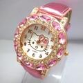 Горячие Продажи Прекрасный Hello Kitty Мультфильм Смотреть Дети Девушки Женщины Моды Большой Кристалл Платье Кварцевые Наручные Часы 1072