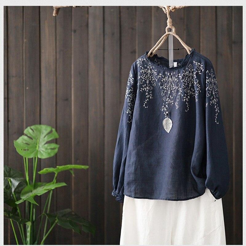 Style chinois vêtements femmes Hanfu 2019 printemps été rétro Vintage chemise broderie ethnique Blouse dames chinois hauts AA4642