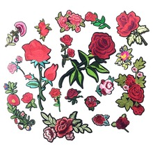 Applique Embroidery Flower Patches For Clothing Iron On Transfers Rose Patch Stickers For Garment DIY Sewing Badge For Jeans(China)