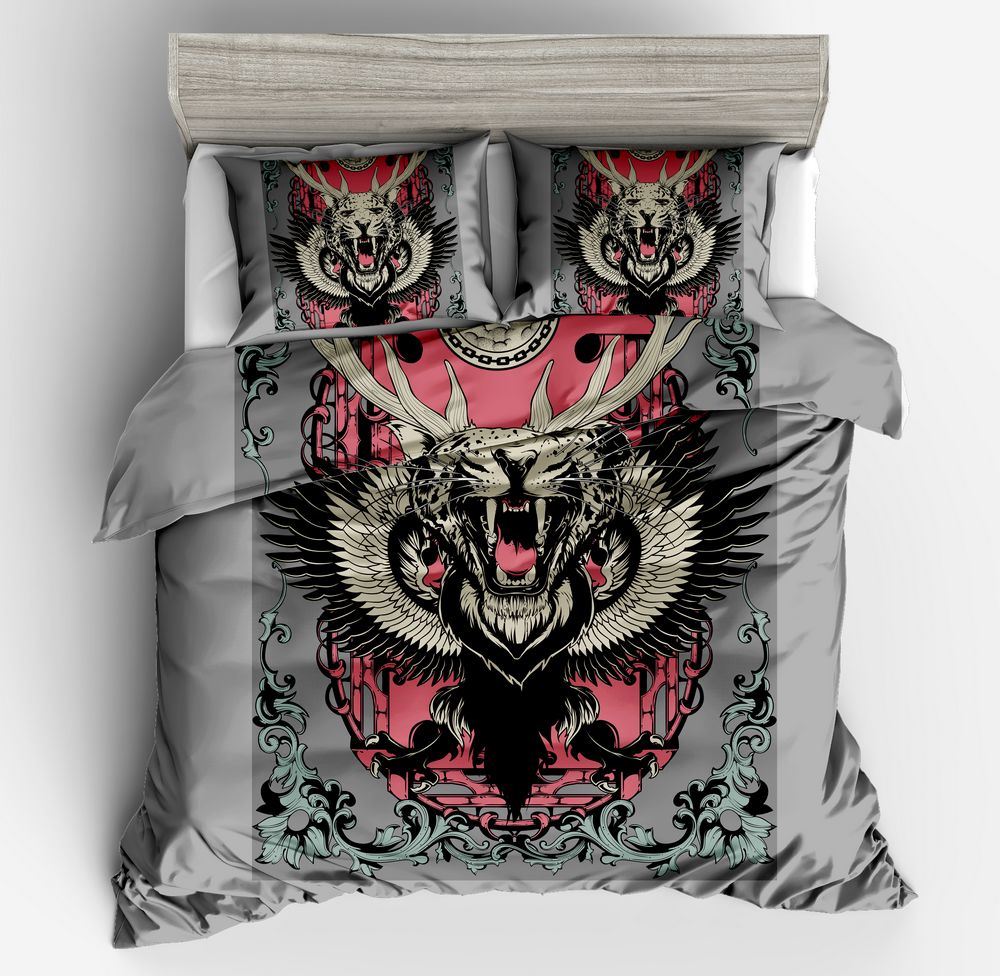 Hot sell 3d fashion Animal pattern gray Bedding Set Bohemia Duvet Cover Set Include Duvet Cover Pillowcase Twin Queen King SizeHot sell 3d fashion Animal pattern gray Bedding Set Bohemia Duvet Cover Set Include Duvet Cover Pillowcase Twin Queen King Size