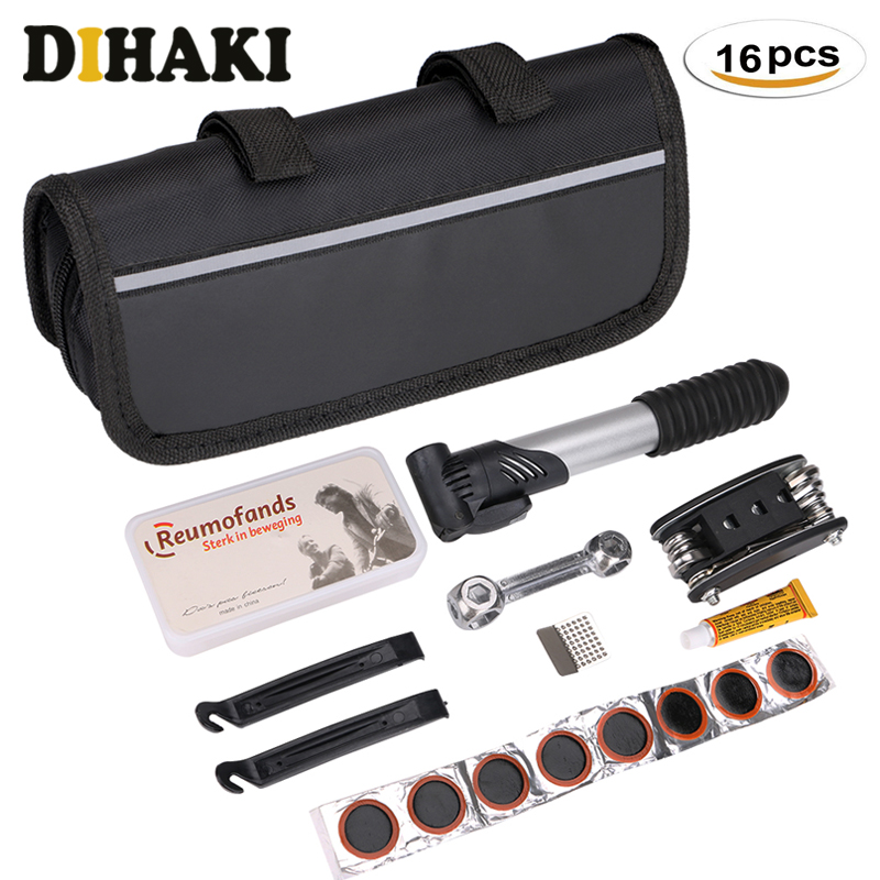 Bike Bicycle MTB Flat Tyre Patch Repair Kit Lever Tool Wrench Pump Supply Bag!