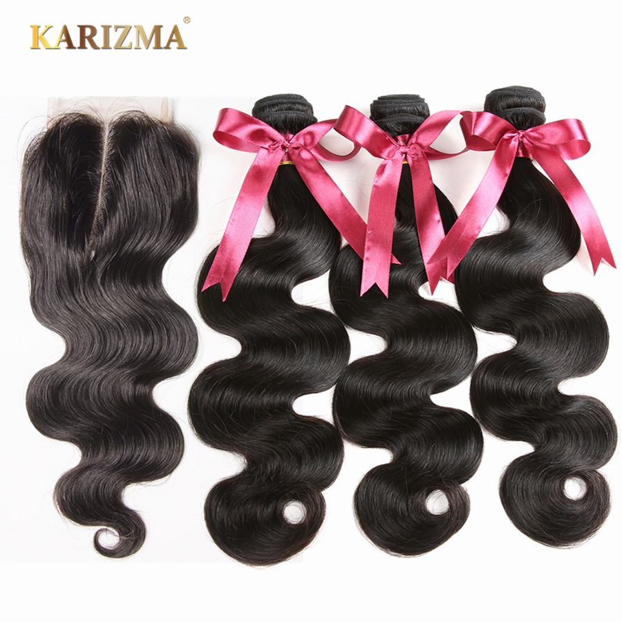 Karizma Brazilian Hair 3 Bundles With Closure Body Wave 100 Human Hair Weave With Closure Middle