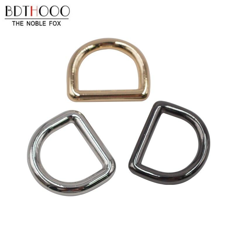 BDTHOOO 30pcs/lot Metal D Buckle Chain Zinc Alloy DIY Handbags 6 Sub-flat-line Decoration Buckle Bags Hardware Parts Accessories