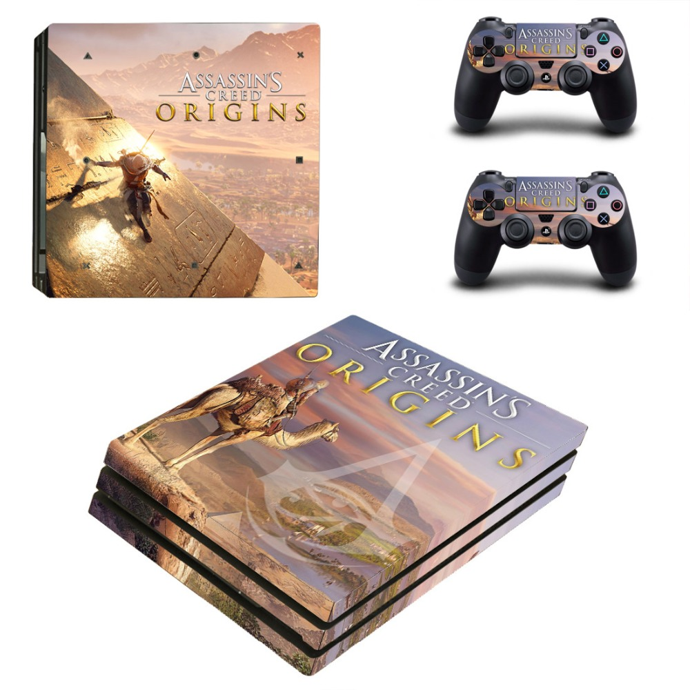 PS4 PRO for Playstation 4 PRO Console Skin Decal Sticker + 2 Controller Skins Set (Pro Only) - ASSASSINS CREEd ORIGINS
