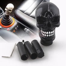 цена на Car Styling Modified Black Skull Head Gear Shift Knob Auto Gear Racing Manual Auto Shift Knob Shifter Lever Resin Universal Fit