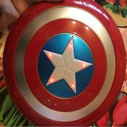 Los Vengadores capitán 32CM América luz escudo emisor y sonido Cosplay propiedad juguete metálico Escudo Rojo/azul