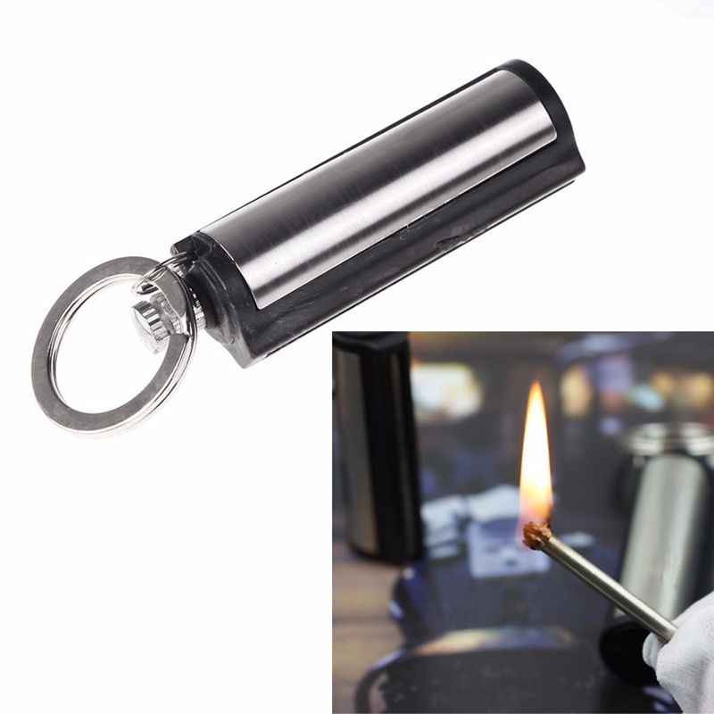 Hot-Sale-Waterproof-Outdoor-Camping-Metal-Permanent-Match-Striker-Lighter-with-Key-Chain-Survival-Matches-Silver