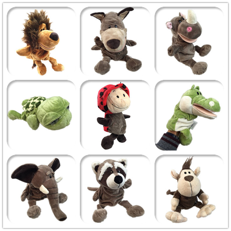 Cute Cartoon Plush Baby Toy Nici Hippo Ladybug Wolf Giraffe Raccoon Crocodile Stereo Hand Puppet Baby Telling Story