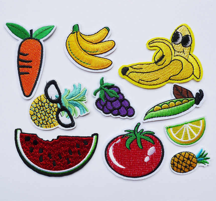 1 Pcs 3D Fruit Foods Embroidery Iron on Patches for Clothes Stickers Applique Kids Jeans Stripes Badges Apparel accessories