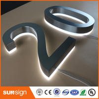 Custom Made Outdoor Waterproof 3D Back Lighted Stainless Steel Channel Letter Signs For Shop Name Store