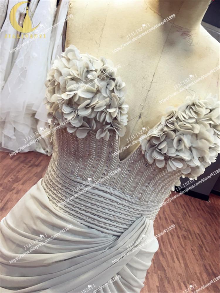 JIALINZEYI Image réelle Elie Saab chérie gris fleurs perles Sexy en mousseline de soie fille robe de soirée robes d'obtention du diplôme - 4