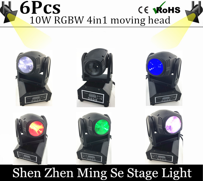 6pcs/lots 10W RGBW 4in1 moving head DMX512 light beam LED spot Lighting Show Disco DJ Laser Light 192 controller niugul mini 10w rgbw 4in1 led moving head dmx512 light led beam spot lighting show disco dj laser light christmas party lights