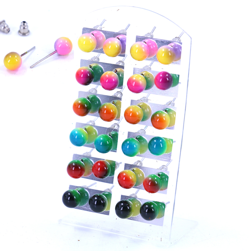 Free Shipping Cheap Small Earrings Resin Plastic Round Ball Changing Color Plating Iron Stick Stud Earrings Ear Studs 60pairs
