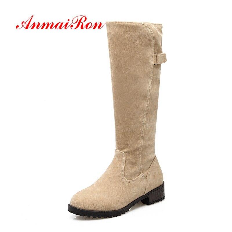 AnmaiRon genou haute bottes mode femmes troupeau carré talon bottes dame solide bout rond bottes grande taille 34-43 hiver bas talons CR1655