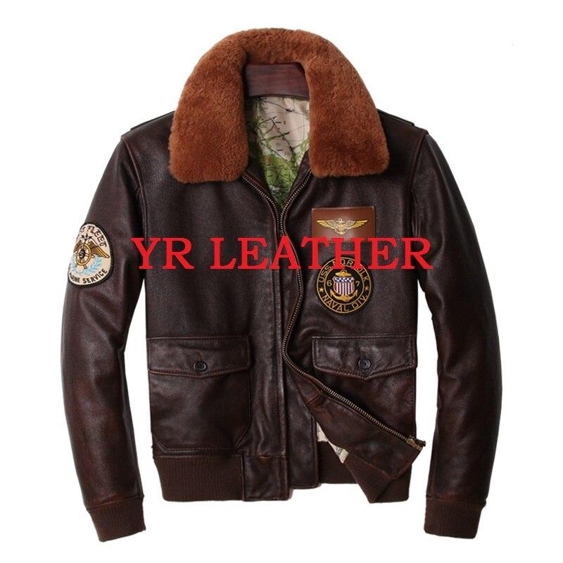 YR! Бесплатная доставка. Оптовая Продажа. Мужская куртка из натуральной кожи больших размеров, Классическая куртка из бычьей кожи A2. Кожаная куртка бомбер Кожаные куртки      АлиЭкспресс