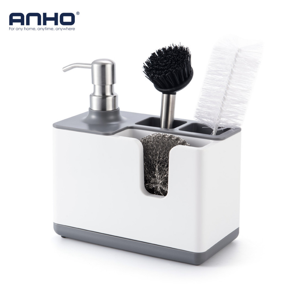 ANHO Kitchen Storage Holder Multifunction Shelf With Dispenser Plastic Storage Rack For Tableware Brushes Cleaning Accessories