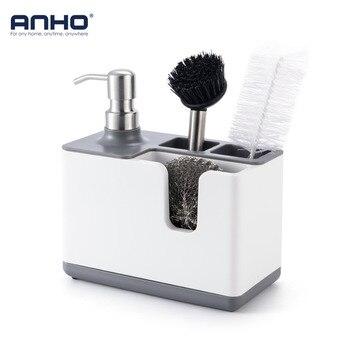 ANHO soporte de almacenamiento de cocina estante multifunción Con dispensador de almacenamiento de plástico para cepillos de vajilla accesorios de limpieza