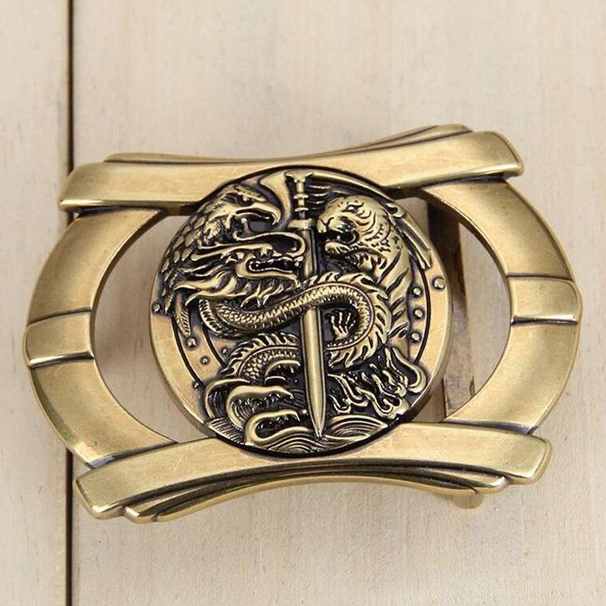 Man's Belt Buckle Fashion Plate Buckle Bronze Belt Buckle Size:4*7cm,Suitable For 3.3-3.8cm Belt NEW Belt Agio 3D Animal Stud