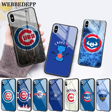 WEBBEDEPP Chicago Cubs Baseball Glass Phone Case for Apple iPhone 11 Pro X XS Max 6 6S 7 8 Plus 5 5S SE