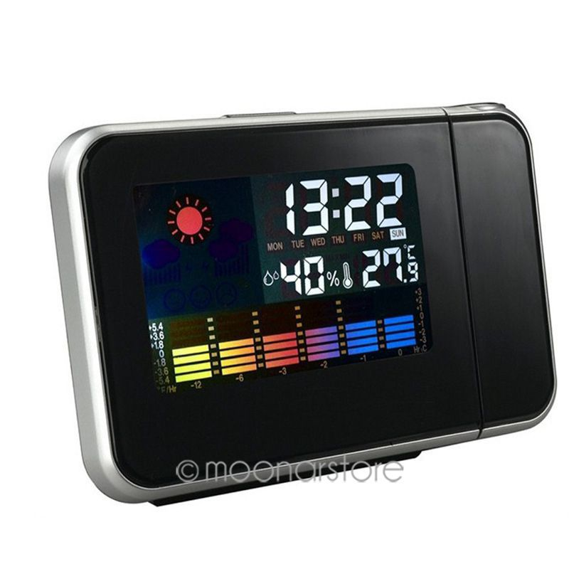 1084ae1df1f Tempo LCD Digital Alarme Relógio de Projeção de luz de Fundo LED Display  Colorido Quente Projetor Snooze Alarm Clocks Horas